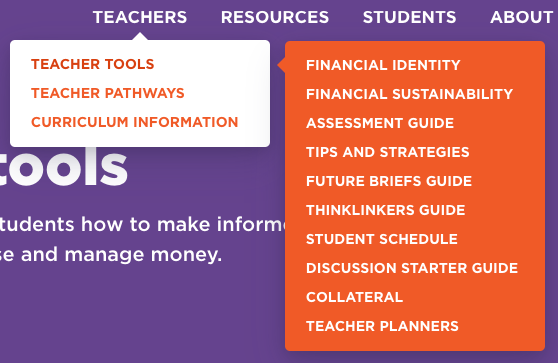Teacher Tools menu screenshot